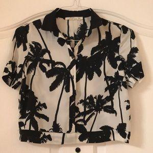 Bershka palm tree print black cropped shirt